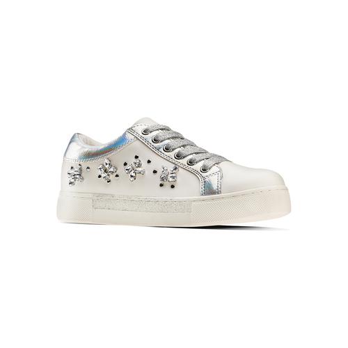 Sneakers da bimba con pietre mini-b, bianco, 321-1304 - 13