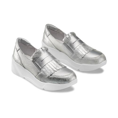Sneakers Platform con frange bata, argento, 614-1131 - 16