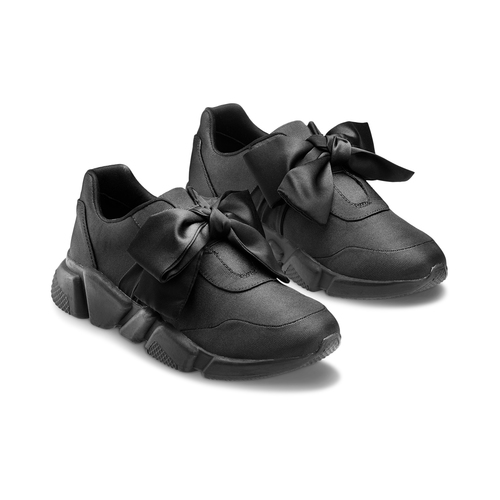 Sneakers nere con lacci in satin bata, nero, 549-6202 - 16