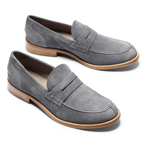 Mocassini in pelle scamosciata bata-the-shoemaker, grigio, 813-2116 - 19