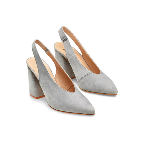 Sling back shoes in suede bata, grigio, 723-2248 - 16