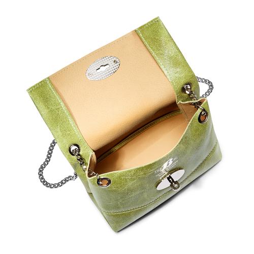Minibag in vera pelle bata, verde, 964-7269 - 16