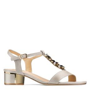 Sandali con tacco basso insolia, beige, 669-2131 - 13