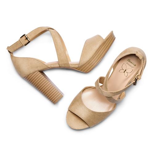 Sandali con tacco insolia, beige, 769-8263 - 26