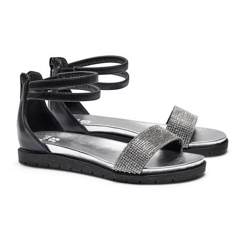 Sandali con strass mini-b, nero, 361-6166 - 26