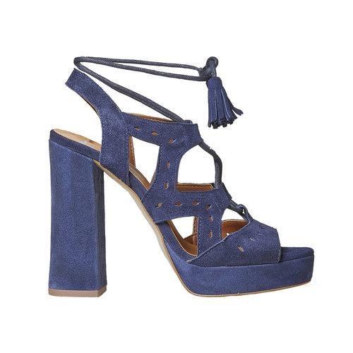 Sandali blu di pelle con tacco bata, blu, 763-9580 - 15