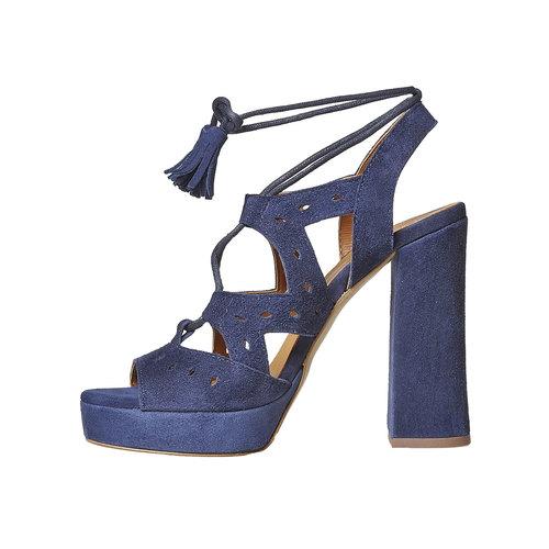 Sandali blu di pelle con tacco bata, blu, 763-9580 - 26