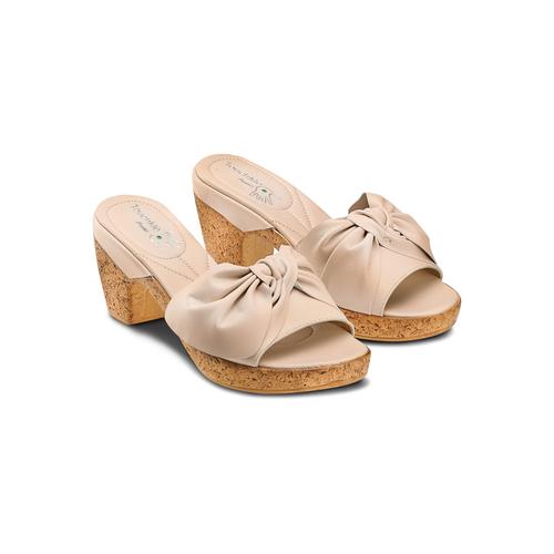 Ciabatte con tacco bata-touch-me, beige, 664-8303 - 16