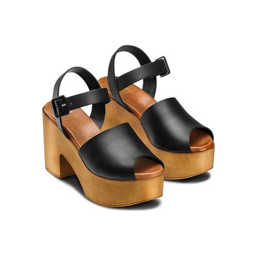 Sandali con tacco largo bata, nero, 764-6437 - 16