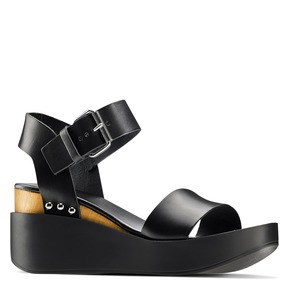 Sandali in pelle bata, nero, 764-6433 - 13