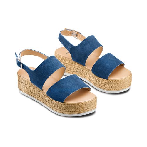 Sandali platform bata, blu, 663-9101 - 16
