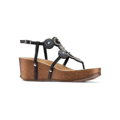 Sandali con zeppa bata, nero, 661-6357 - 13