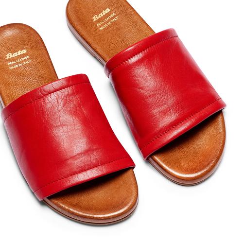 Ciabatte Flat in pelle bata, rosso, 564-5146 - 26