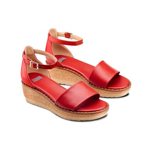 Sandali con zeppa bata, rosso, 661-5354 - 16