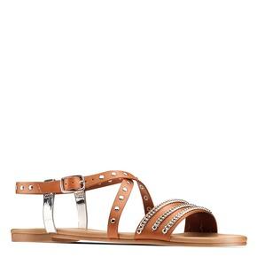 Sandali Flat bata, marrone, 561-3540 - 13